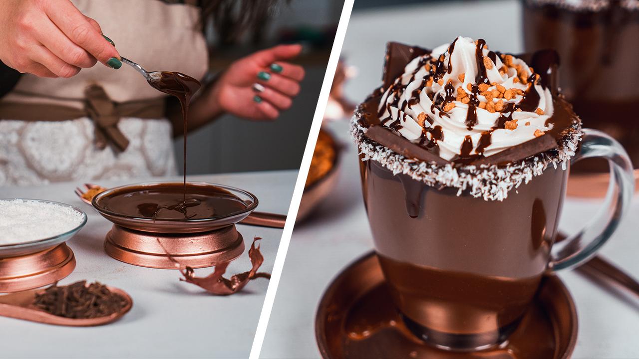 como preparar chocolate derretido en casa paso a paso, bebidas veganas con leche de coco, ideas de recetas vegetarianas