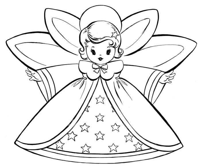 las mejores propuestas de dibujos de navidad para copiar, pequeña hada super fácil de dibujar