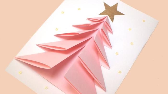 postales de navidad personalizadas 3D, árbol de navidad en rosado hecho de papel, diseños de tarjetas navideñas hechas a mano