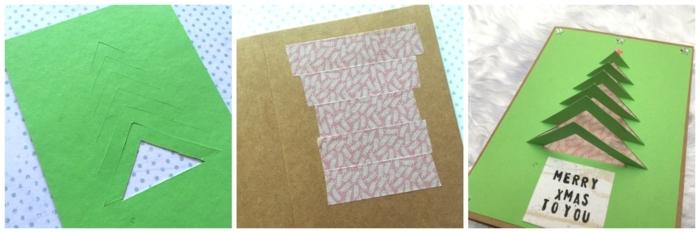como hacer una tarjeta navideña original paso a paso, bonitas ideas de postales de navidad originales DIY
