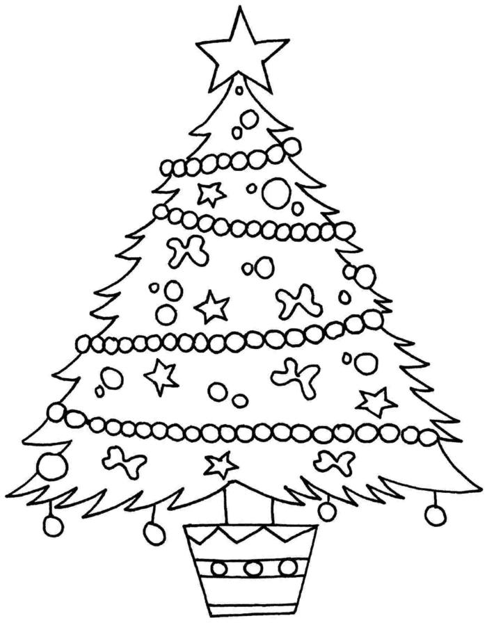 precioso dibujo de árbol de navidad, arbol de navidad para colorear para niños pequeños