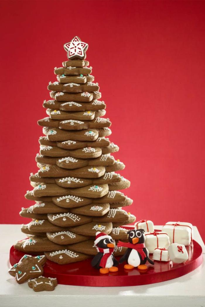 adorables propuestas de decoración de postres navideños caseros, árbol navideño hecho de galletas