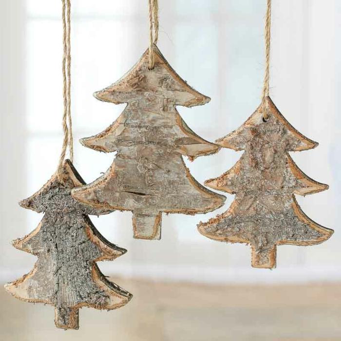 adornos rústicos para adornar tu árbol, manualidades navideñas faciles y rápidas, árboles de navidad de madera