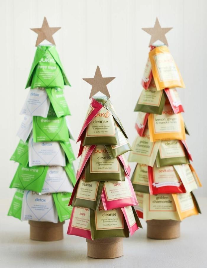 bonitas ideas de regalos para amigo invisible, árboles de Navidad de bolsas de té, regalos para los amantes del té