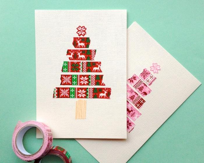 como hacer postales navideñas de cintas adhesivas con motivos navideños, árboles de navidad DIY