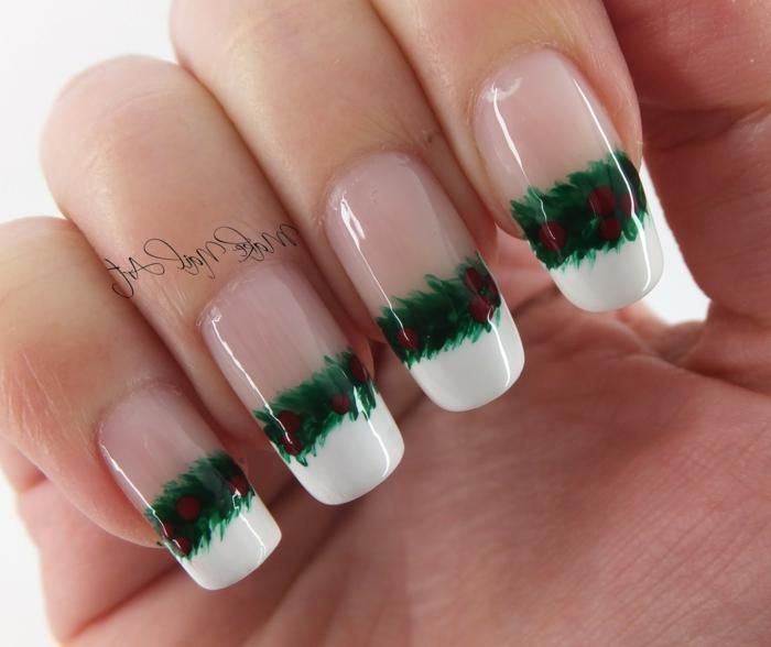 diseños adorables de uñas francesas largas, decoraciones bonitas para Navidad, dibujos de ramos de acebo