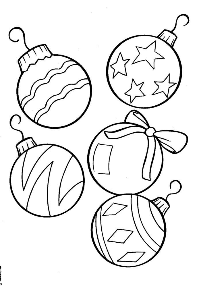 bolas navideñas en dibujos para colorear, ideas de pequeocio en Navidad, dibujos fáciles