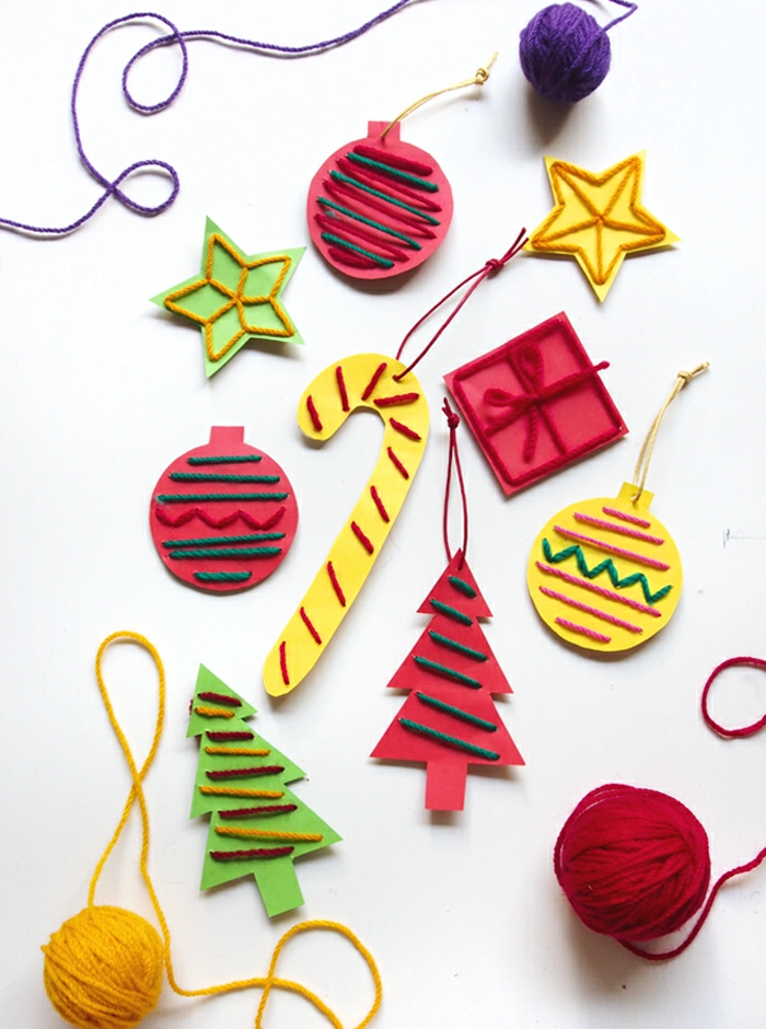 decoracion navideña original para pequeños y adultos, adornos navideños de papel e hilo de lana