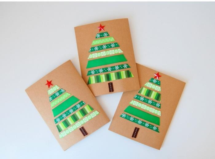 ejemplos de postales navideñas personalizadas para regalar, árboles de navidad hechas de cintas adhesivas