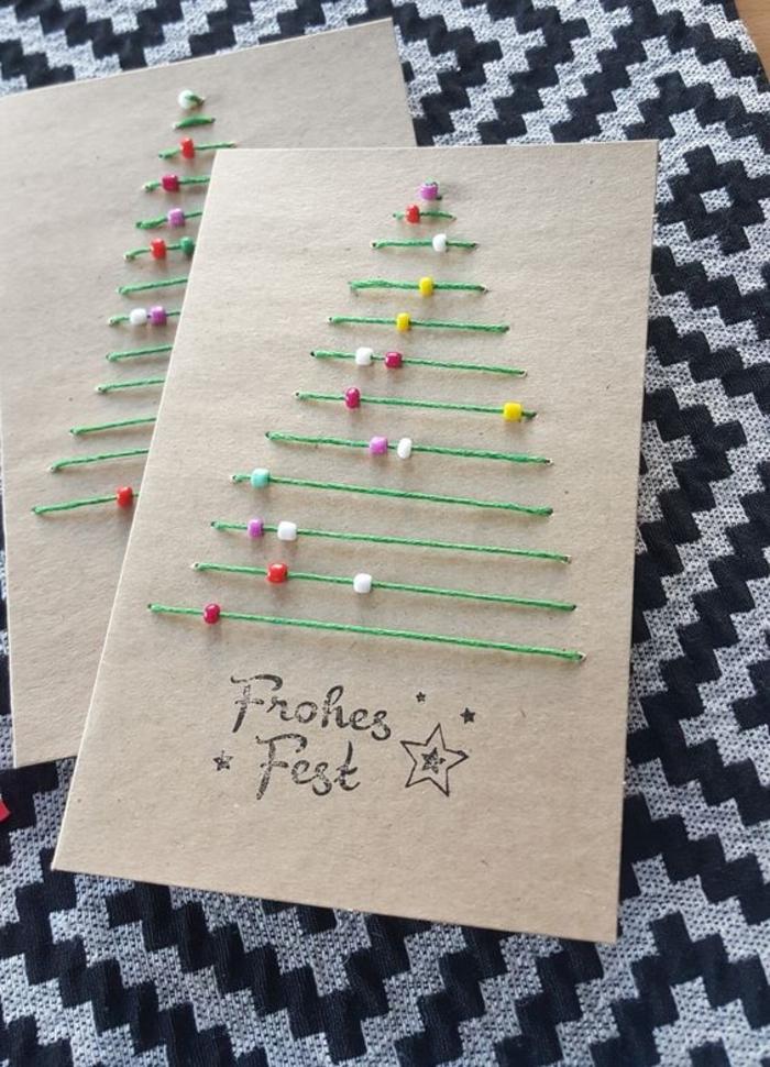 como hacer tarjetas de navidad con hilo, diseños de tarjetas DIY para regalar en navidad