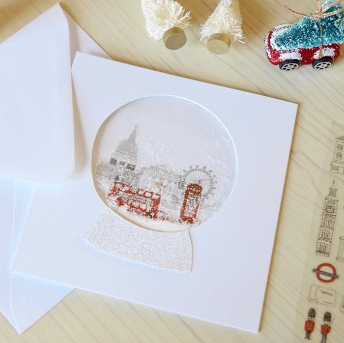 ideas de postales de navidad originales con motivos navideños, preciosas tarjetas hechas a mano