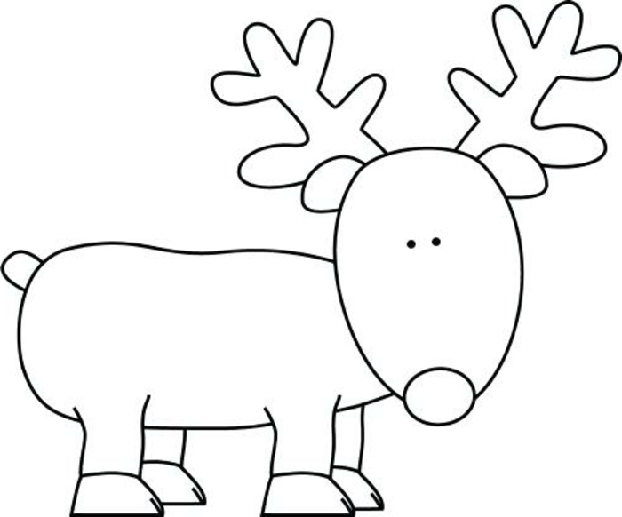 dibujos de navidad para copiar super fáciles, dibujo de reno sencillo, fotos descargables con dibujos
