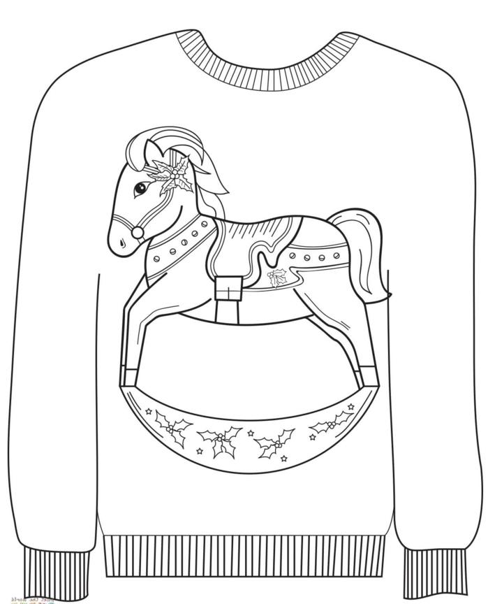 dibujos de navidad para copiar para tus niños, jersey con dibujos infantiles de navidad