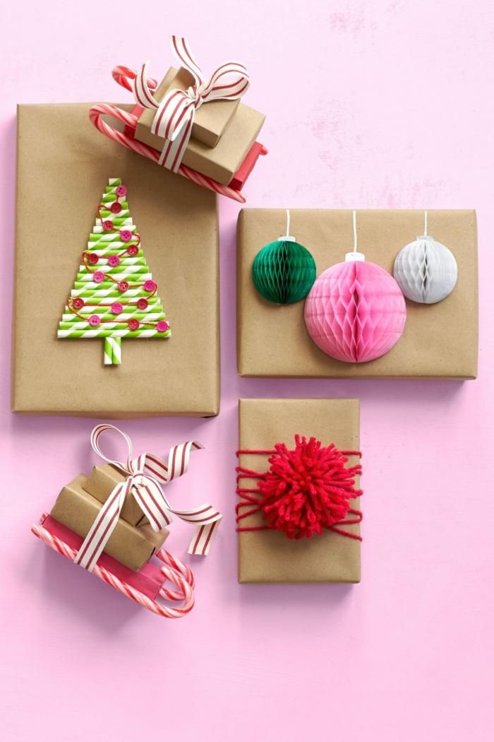 embalajes originales para Navidad, ideas amigo invisible originales, paquetes con regalos decorados