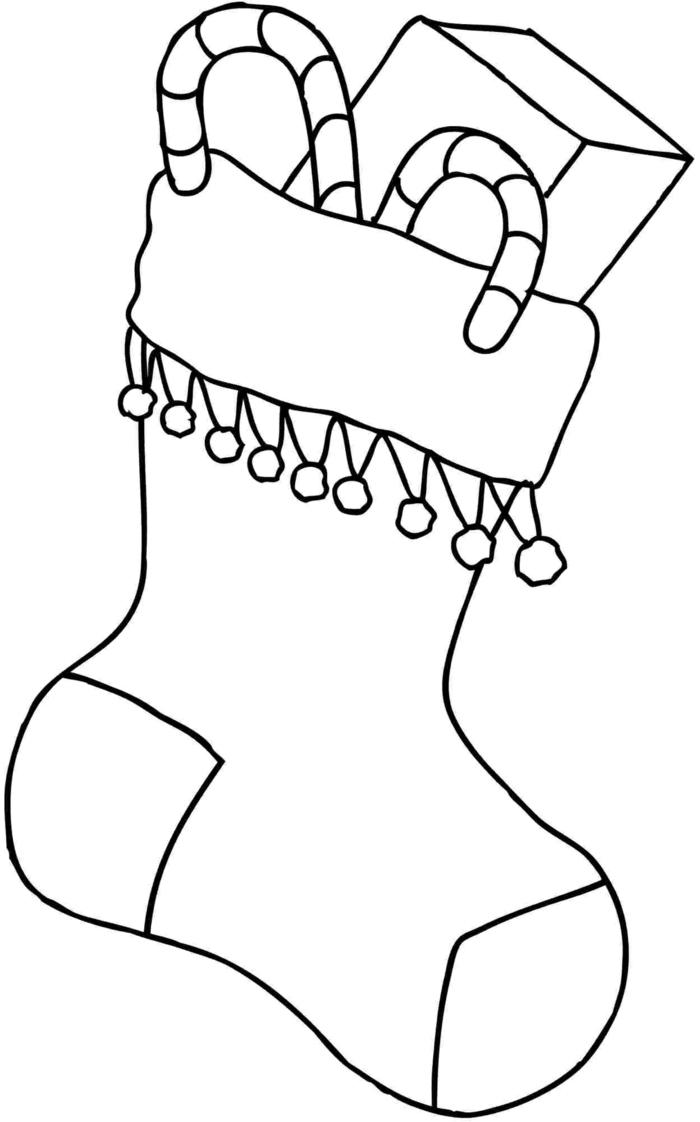motivos navideños para colorear, ideas de dibujos navideños para niños pequeños, calcetin lleno de detalles