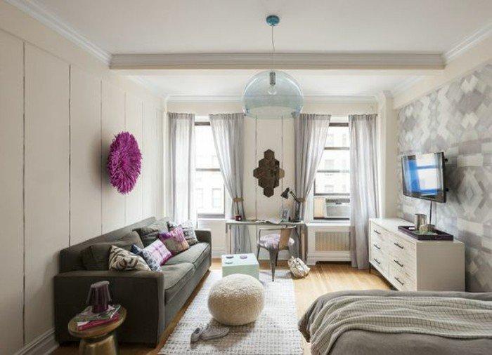 espacio abierto decorado en gris y beige, decoracion pisos pequeños modernos en imágines