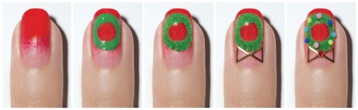 pasos para hacer diseños de uñas faciles para Navidad, uñas rojas con detalles navideños en verde