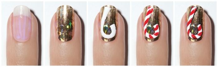 ideas de diseños de uñas faciles con tutoriales paso a paso en fotos, como decorarte las uñas para Navidad