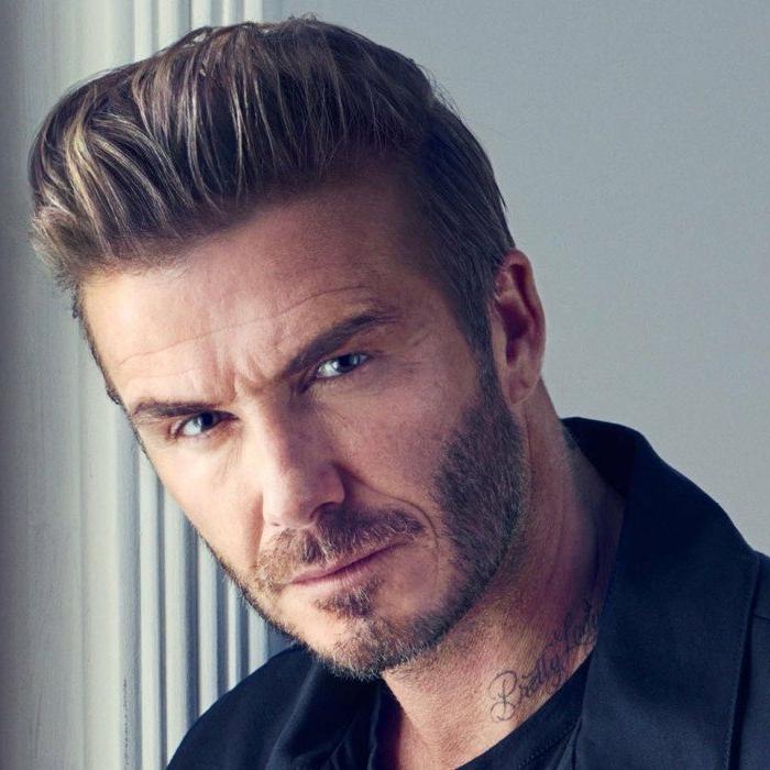 imágines de cortes de pelo hombre degradado, David Beckham con un peinado muy masculino