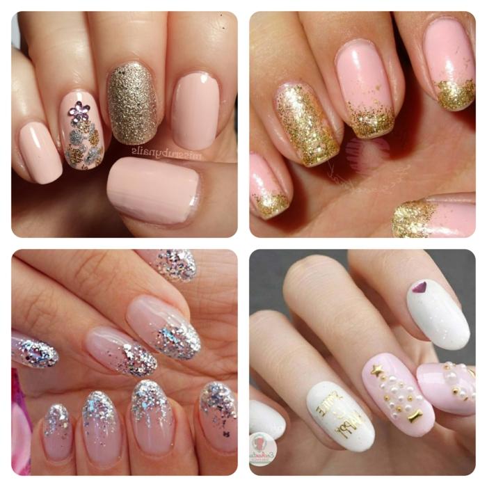 ideas de diseños de uñas decoradas en plateado y rosado, pequeños detalles para tu manicura