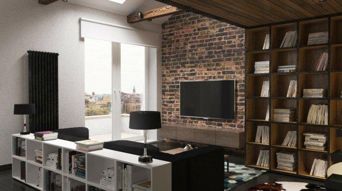 ideas sobre como decorar piso pequeño en estilo industrial, pared de ladrillo, estanterías funcionales