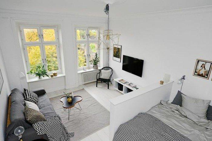 grande espacio decorado en blanco, decorar piso pequeño según las últimas tendencias, decoración en blanco y gris