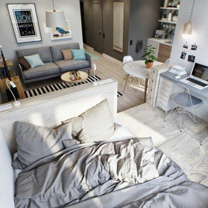 ejemplos como decorar un piso pequeño en gris y beige, espacio moderno de diseño abierto