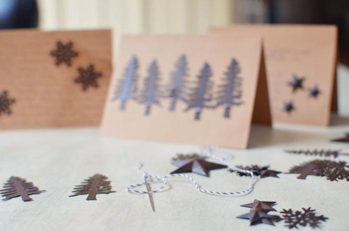 preciosas ideas sobre como hacer tarjetas de navidad, motivos navideños pequeños para pegar a las tarjetas de Navidad