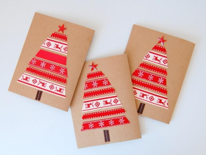 postales de navidad hechas a mano decoradas con cintas adhesivas con motivos navideños