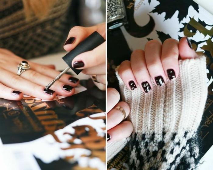 uñas cortas en rojo oscuro adornadas con detalles en dorado, decoraciones de uñas elegantes para Navidad