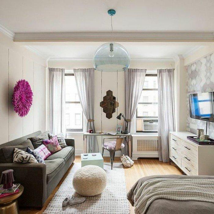 ejemplos como decorar un piso pequeño con mucho estilo, decoración en gris y beige, elementos decorativos en las paredes