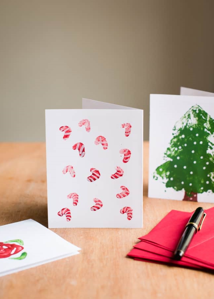 bonitas ideas de postales de navidad hechas a mano super sencillas, manualidades navideñas originales