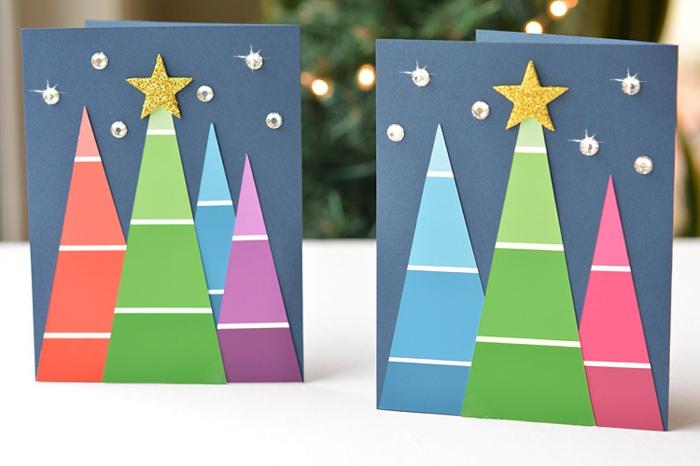 tarjetas con árboles de navidad efecto ¨ombre¨, postales navideñas personalizadas super bonitas