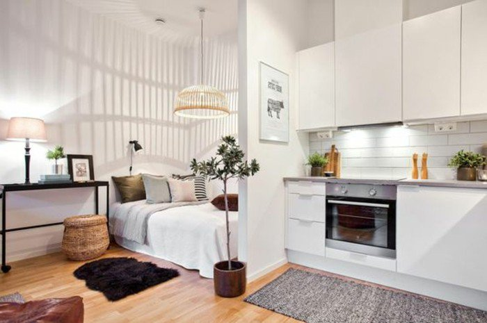 ingeniosas ideas sobre como decorar pisos pequeños, dormitorio abierto a la cocina, decoración en estilo moderno