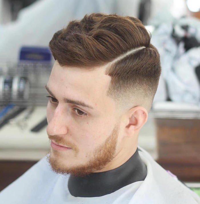 ideas de peinados y cortes para cabello rizado, pelo pelirrojo, hombre con degradado y barba