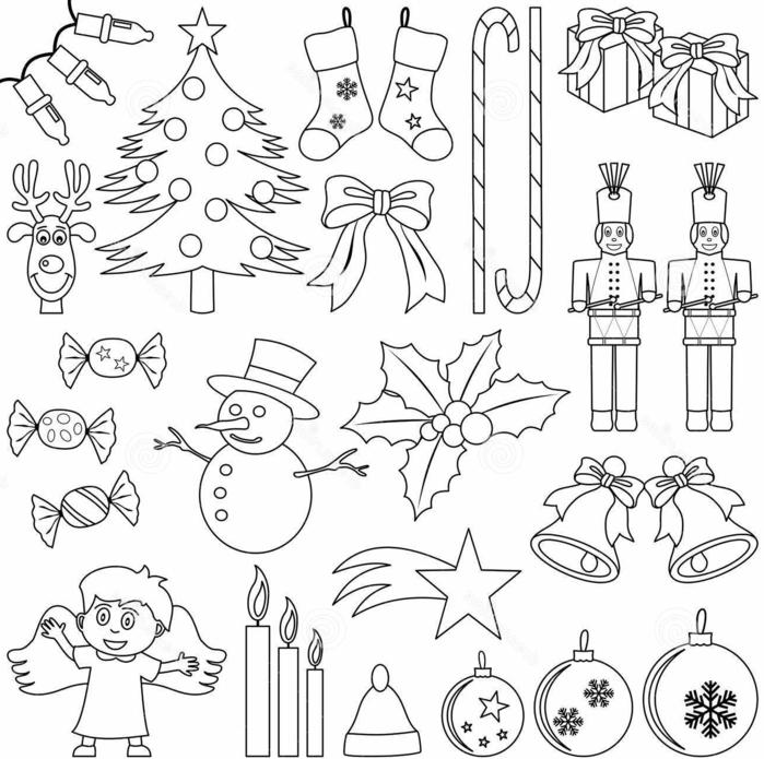 motivos navideños pequeños para colorear, propuestas para adultos y pequeños, árboles de navidad y adornos