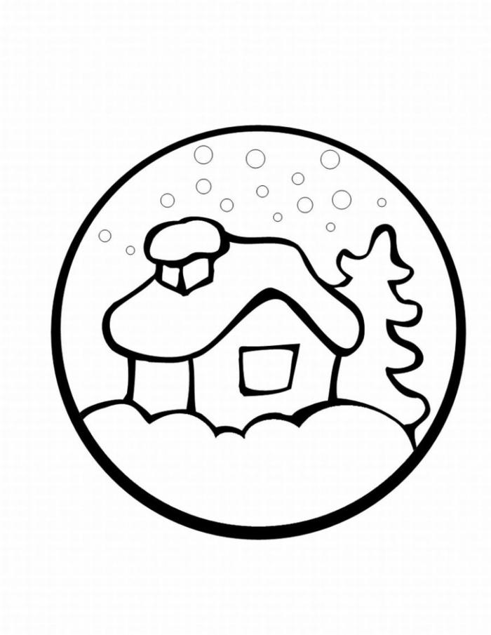 plantillas de dibujos navideños faciles de copiar, paisaje invernal bonito, pequeños detalles navideños