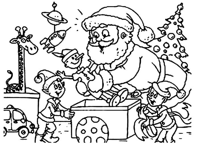 bonitos dibujos con Papá Noel y árboles de Navidad, dibujos de navidad para copiar