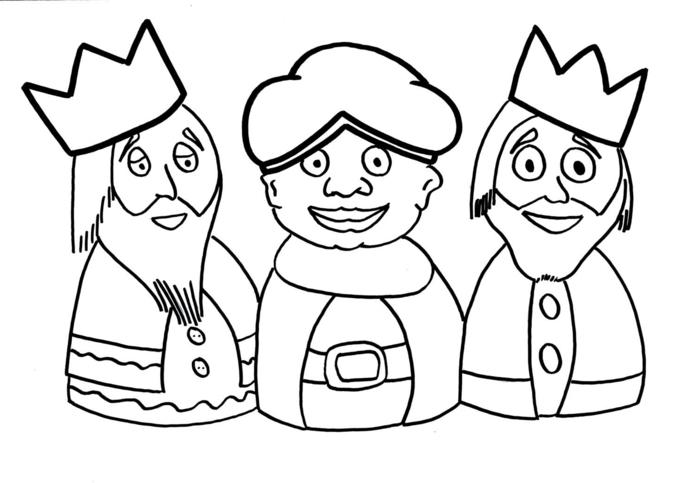 divertidas propuestas de dibujos de navidad para copiar para los niños más pequeños, dibujos de los tres Reyes Magos