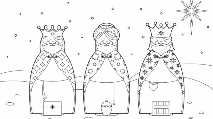 dibujos de los reyes magos, diseños adorables de páginas para colorear navideñas para imprimir