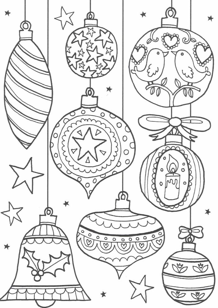hermosos adornos navideños, bonitos dibujos para colorear en Navidad con opción de imprimirlas