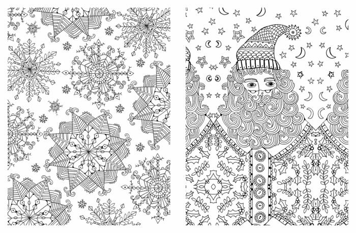 diseños para colorear a tema navideña para adultos, páginas de colorear para combatir el estrés