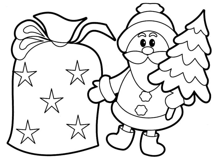 diseños simples de páginas de colorear para niños pequeños, arboles de navidad para dibujar