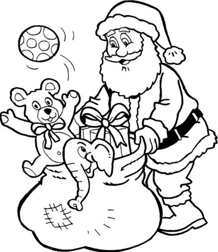 adorable dibujo de Papá noel con grande bolsa de regalos, imagines imprimibles para pequeños y adultos