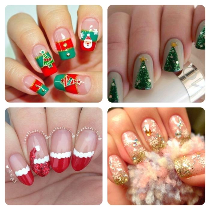 diseños de uñas de navidad originales y bonitos, cuatro propuestas con decoraciones en rojo, verde y dorado