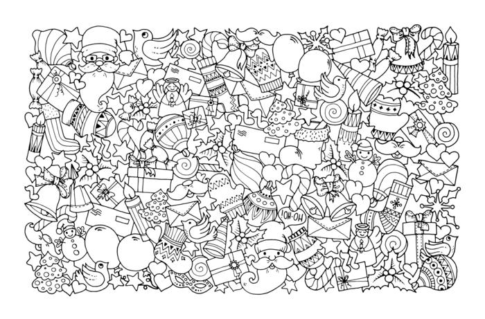 motivos navideños para colorear, dibujo con muchos detalles navideños, páginas de colorear para adultos