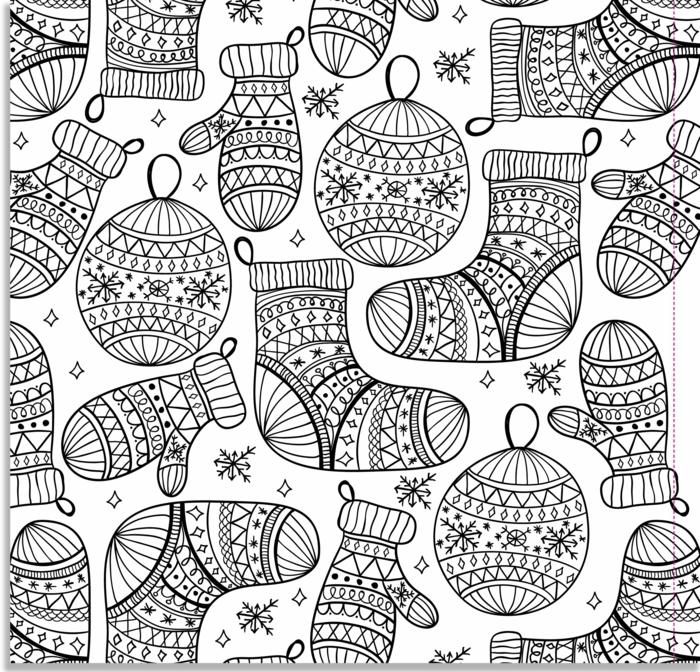 detalles navideños para colorear, fotos descargables con dibujos para colorear para adultos