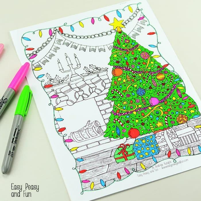 dibujos navideños para adultos y pequeños, colorear con marcadores de colores en tonos neones