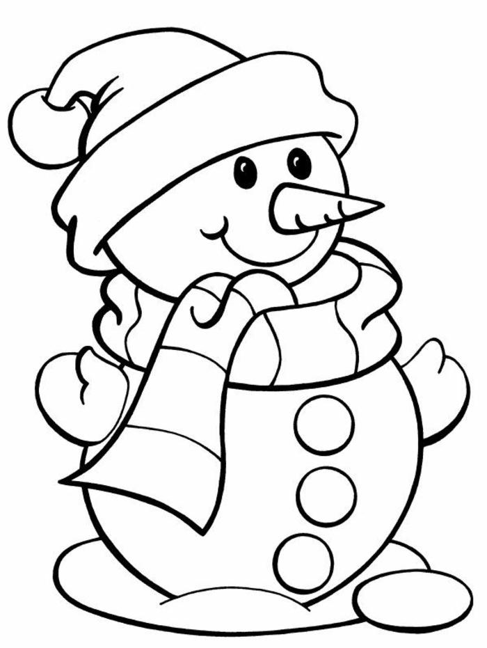 muñequito de nieve, dibujo clásico, páginas de dibujos para colorear para niños pequeños