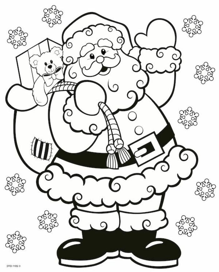 dibujo simpático de Papá Noel que puedes descargar e imprimir, decoraciones navideñas